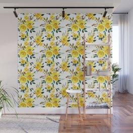 Yellow green white watercolor hand painted floral Wall Mural