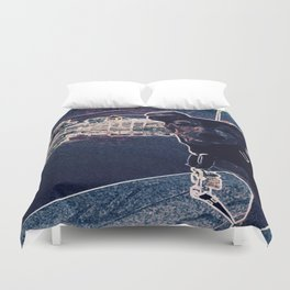 Min Pin on a boat Duvet Cover