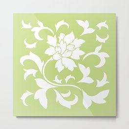 Oriental Flower - Daiquiri Green Metal Print