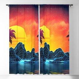 Sunset Vaporwave landscape with rocks and palms Blackout Curtain