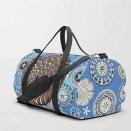pangolin mandala blue Duffle Bag
