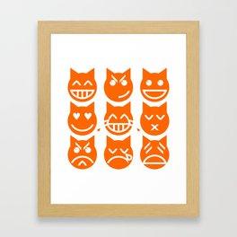 The 9 Lives of the Emoji Cat Framed Art Print