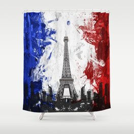 Eiffel Tower Painting Abstract Shower Curtain