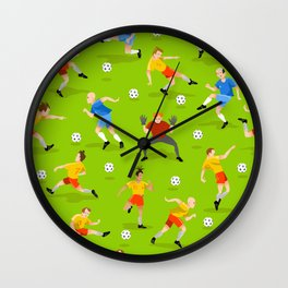 Vector seamless background with football players on green field Wall Clock