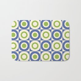 Mid Century Square and Circle Pattern 541 Blue and Green Bath Mat