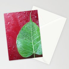 Leaf on red Stationery Cards