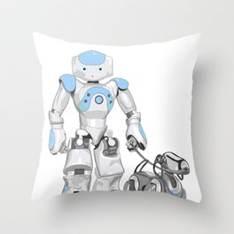 The Dog Walker. (Blue) Throw Pillow