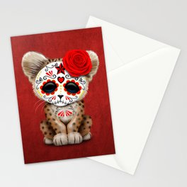 Red Day of the Dead Sugar Skull Leopard Cub Stationery Cards