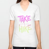 backpack V-neck T-shirts featuring Take A Hike by Zeke Tucker