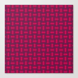 REITERATE - candy apple carmine red and blue block repeat pattern Canvas Print