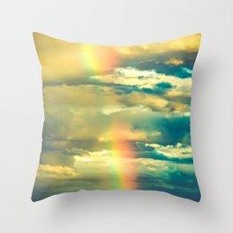 Rainbow Blue Sky Clouds Throw Pillow