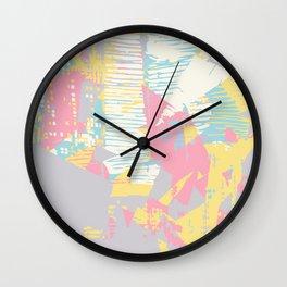 Futuristic Pastel Cityscape Wall Clock
