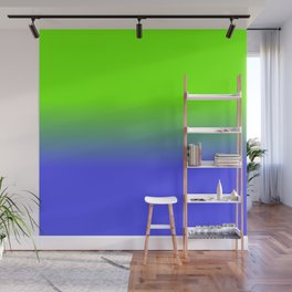 Neon Blue and Neon Green Ombré  Shade Color Fade Wall Mural