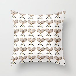vintage Tennis rackets and ball Throw Pillow