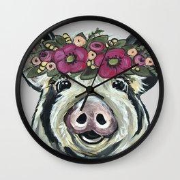 Cute Pig Art, Pig with Flower crown Art Wall Clock