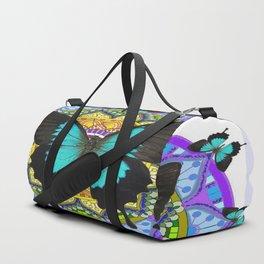 PURPLE AMETHYST BLUE BUTTERFLY MANDALA  WHITE ART Duffle Bag