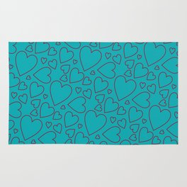Dark red and turquoise hearts pattern. Rug