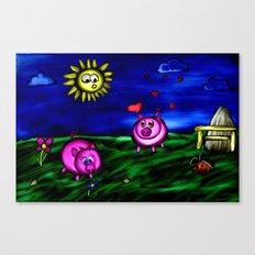 Pig love-story Canvas Print