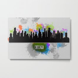 Watercolor art of the Chicago skyline silhouette Metal Print