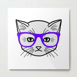 Hipster Kitty Metal Print