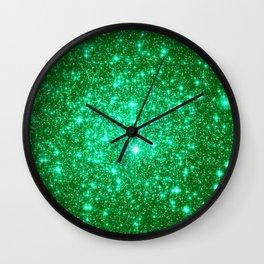 Emerald Green Glitter Stars Wall Clock