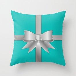 Blue Gift Box Throw Pillow
