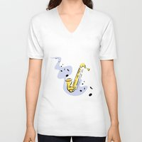 saxophone V-neck T-shirts featuring Saxophone Sax by shopaholic chick