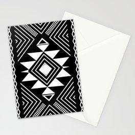 Aztec boho ethnic black and white Stationery Cards