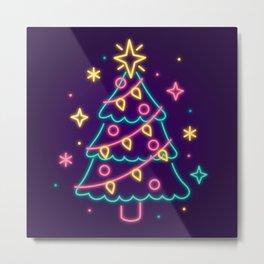 Neon Lights Christmas Tree Metal Print