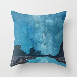 """Reflections Galaxy"" blue watercolor landscape painting Throw Pillow"