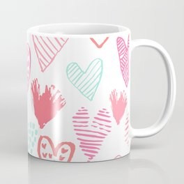 Hearts hand drawn heart pattern valentines day love gifts home decor hipster girls Coffee Mug