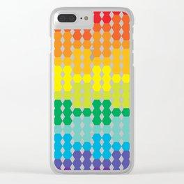 Rainbow Hex Gradient Clear iPhone Case