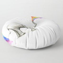Rainbow Baby Elephant Floor Pillow