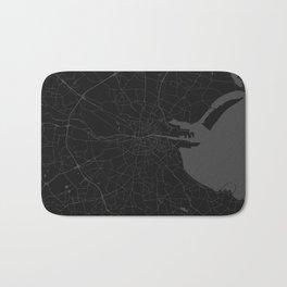 Black on Grey Dublin Street Map Bath Mat