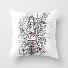 wonderland shattered Throw Pillow