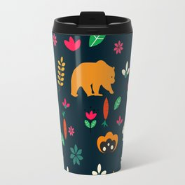 Cute little animals among flowers Travel Mug