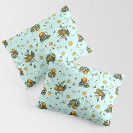 Oranges and Butterflies on Mint Pillow Sham