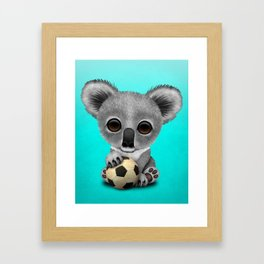 Cute Baby Koala With Football Soccer Ball Framed Art Print
