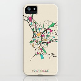 Colorful City Maps: Marseille, France iPhone Case