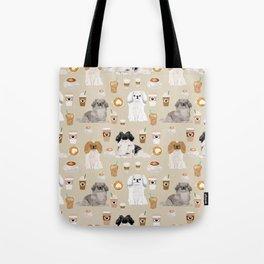 Pekingese dog breed dog pattern pet portraits coffee food dog breeds pet friendly Tote Bag