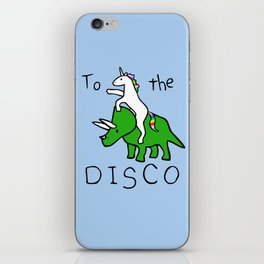To The Disco (Unicorn Riding Triceratops) iPhone Skin