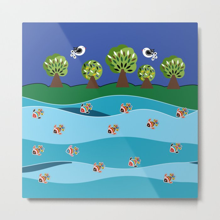 river and fish Metal Print