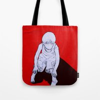 dexter Tote Bags featuring Dexter by MRCRMB