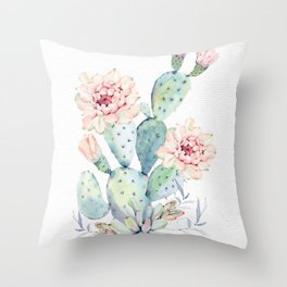 Prettiest Cactus Rose Watercolor by Nature Magick Throw Pillow