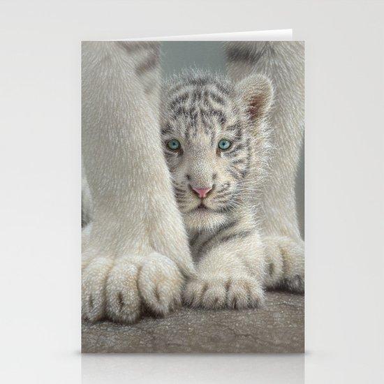 White Tiger Cub - Sheltered by collinboglenatureart