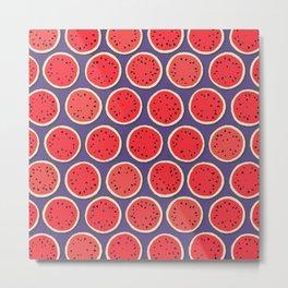 watermelon polka purple Metal Print