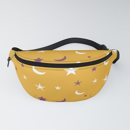Orange background with purple and white moon and star pattern Fanny Pack
