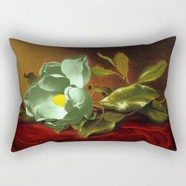 An Emerald Green Magnolia on Red Velvet by Martin Johnson Head Rectangular Pillow