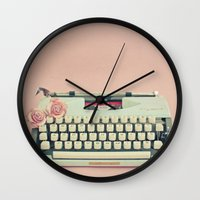 letter Wall Clocks featuring Love Letter by Cassia Beck