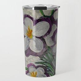 Purple Crocus on white Travel Mug